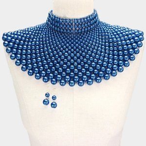 Royal Blue Pearl Armor Bib Choker Necklace